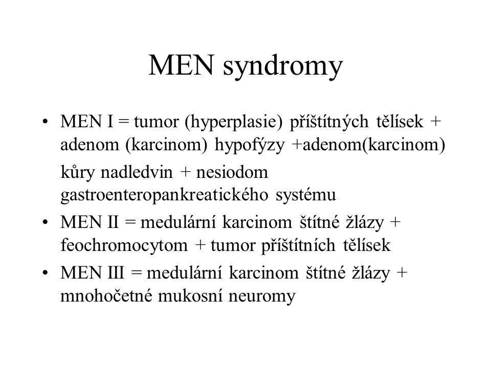 MEN syndromy •MEN I = tumor (hyperplasie) příštítných tělísek + adenom (karcinom) hypofýzy +adenom(karcinom) kůry nadledvin + nesiodom gastroenteropan