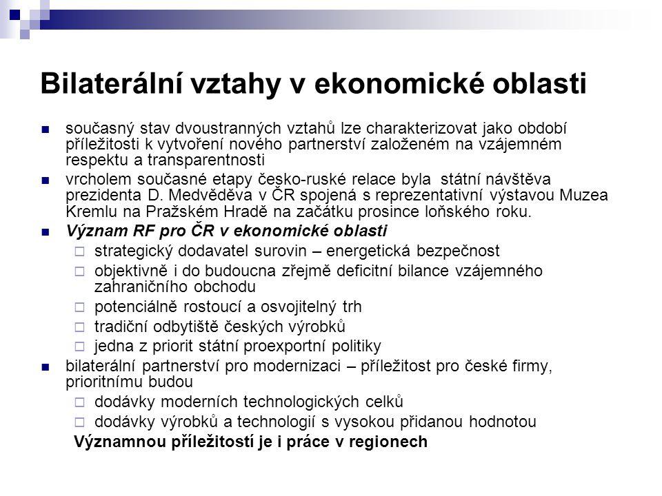 Bilaterální vztahy v ekonomické oblasti  současný stav dvoustranných vztahů lze charakterizovat jako období příležitosti k vytvoření nového partnerství založeném na vzájemném respektu a transparentnosti  vrcholem současné etapy česko-ruské relace byla státní návštěva prezidenta D.