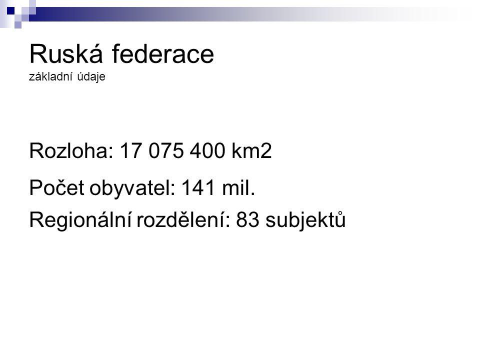 Ruská federace základní údaje Rozloha: 17 075 400 km2 Počet obyvatel: 141 mil.