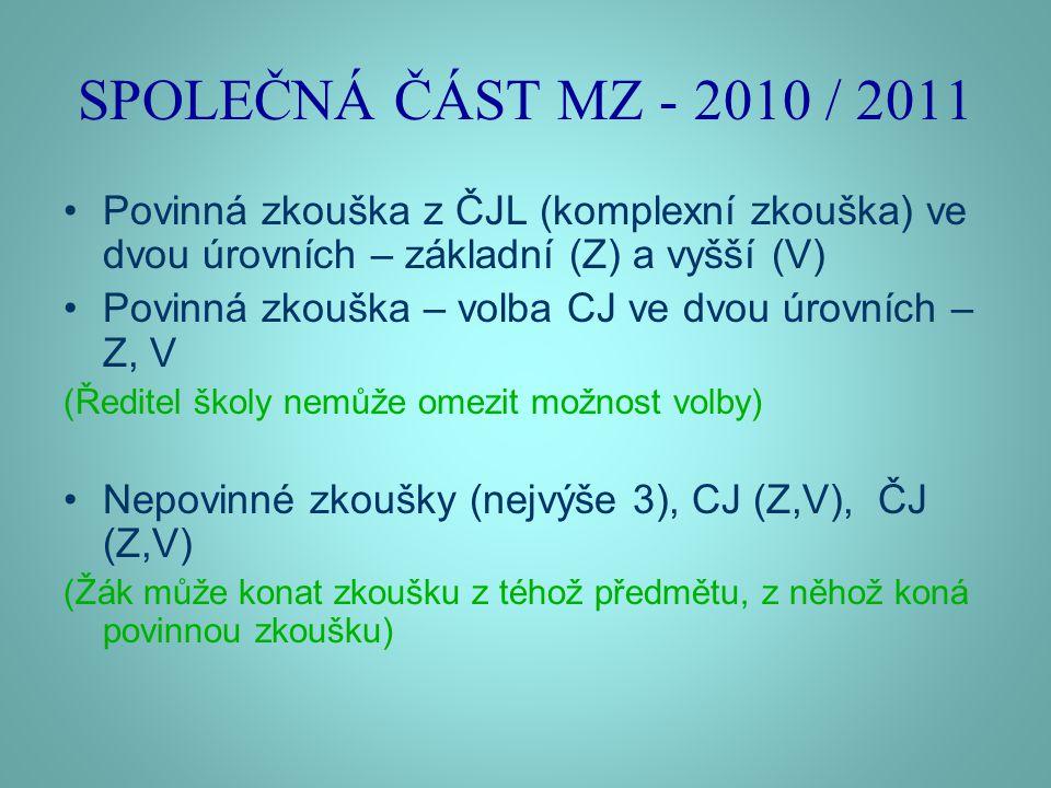 SPOLEČNÁ ČÁST MZ - 2010 / 2011 •Povinná zkouška z ČJL (komplexní zkouška) ve dvou úrovních – základní (Z) a vyšší (V) •Povinná zkouška – volba CJ ve dvou úrovních – Z, V (Ředitel školy nemůže omezit možnost volby) •Nepovinné zkoušky (nejvýše 3), CJ (Z,V), ČJ (Z,V) (Žák může konat zkoušku z téhož předmětu, z něhož koná povinnou zkoušku)