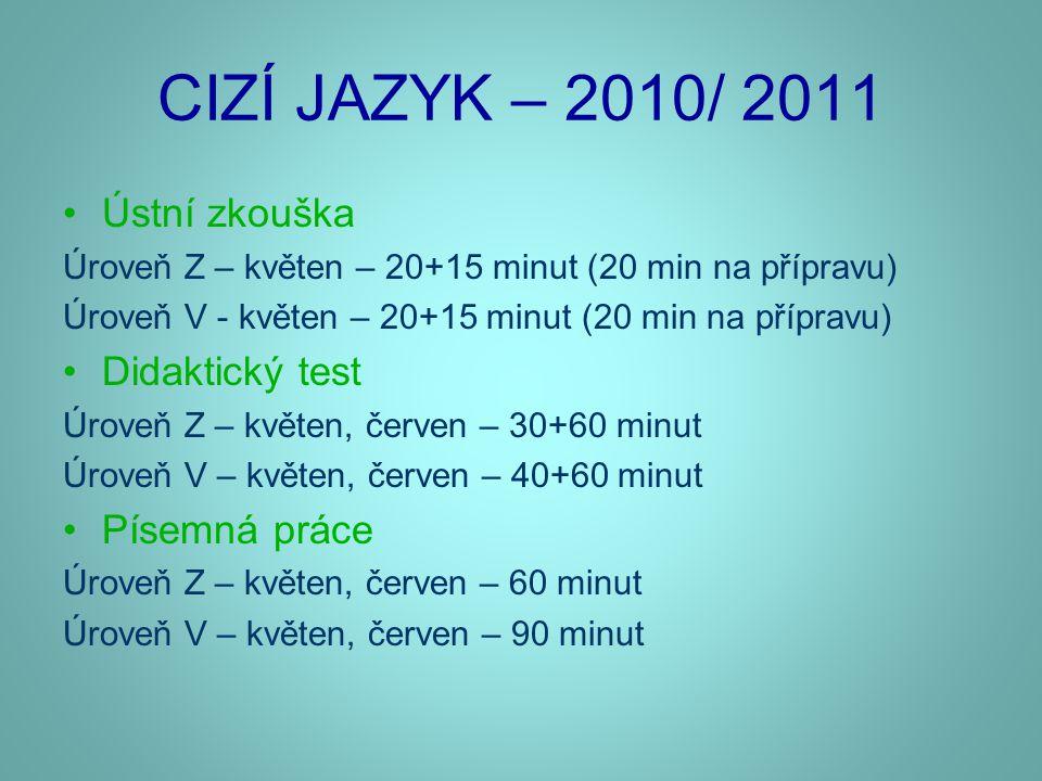 CIZÍ JAZYK – 2010/ 2011 •Ústní zkouška Úroveň Z – květen – 20+15 minut (20 min na přípravu) Úroveň V - květen – 20+15 minut (20 min na přípravu) •Dida