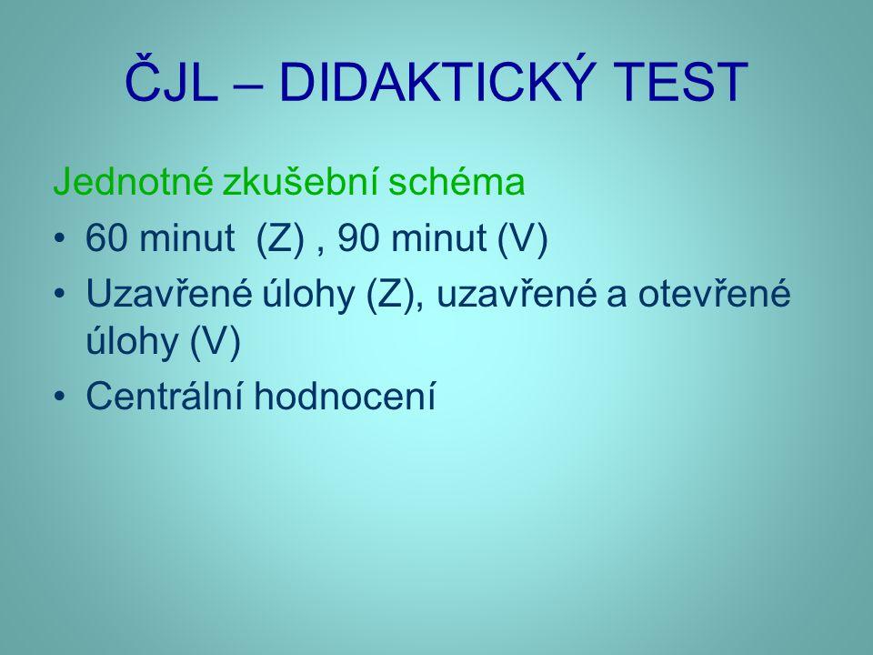 ČJL – DIDAKTICKÝ TEST Jednotné zkušební schéma •60 minut (Z), 90 minut (V) •Uzavřené úlohy (Z), uzavřené a otevřené úlohy (V) •Centrální hodnocení