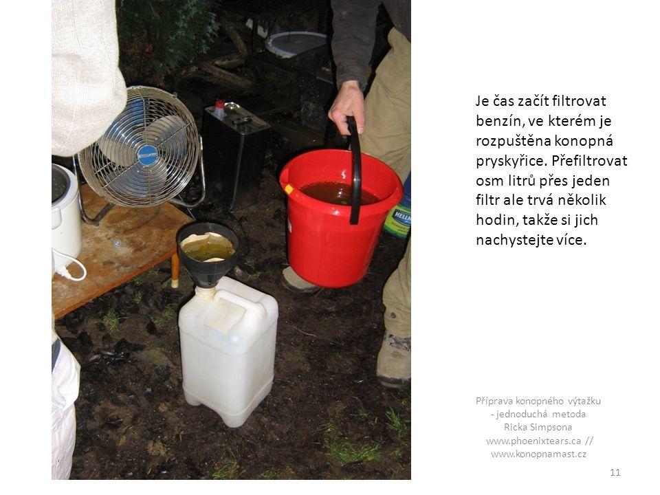 Je čas začít filtrovat benzín, ve kterém je rozpuštěna konopná pryskyřice.