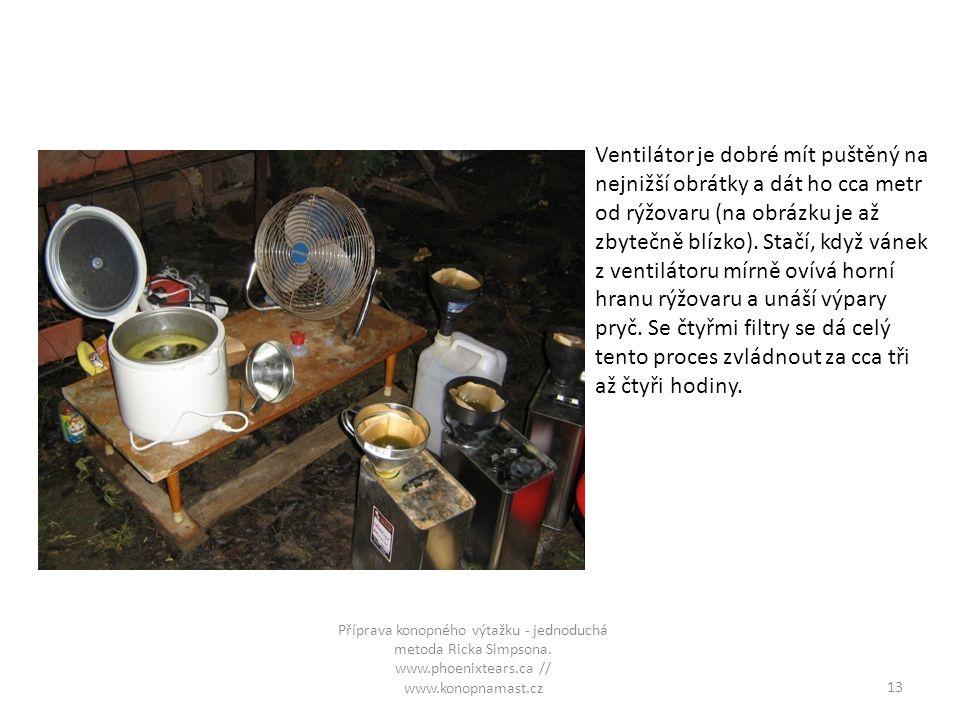 Ventilátor je dobré mít puštěný na nejnižší obrátky a dát ho cca metr od rýžovaru (na obrázku je až zbytečně blízko). Stačí, když vánek z ventilátoru