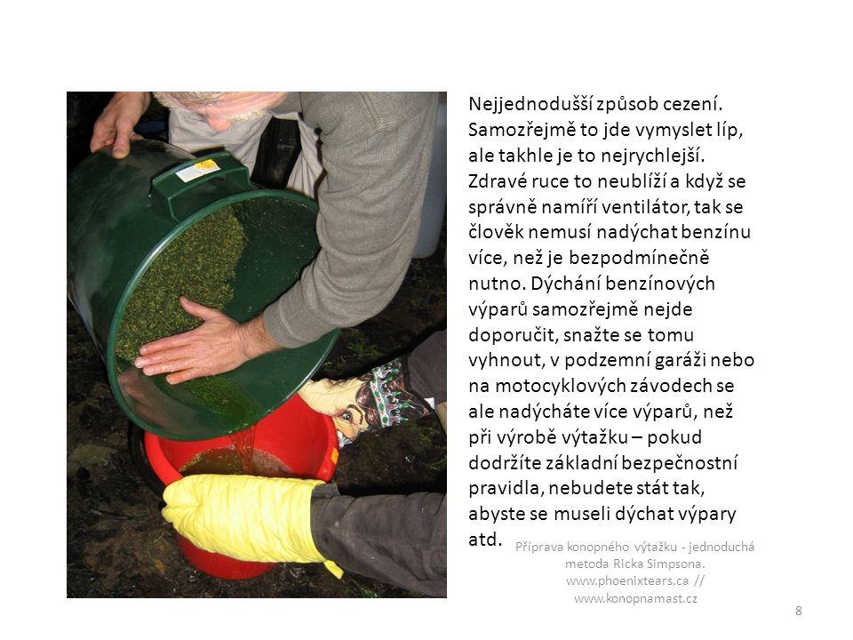 První testování kvality – podle lepkavosti ruky jde poznat, kolik pryskyřice se podařilo smýt a jak kvalitní bude výtažek 9 Příprava konopného výtažku - jednoduchá metoda Ricka Simpsona.