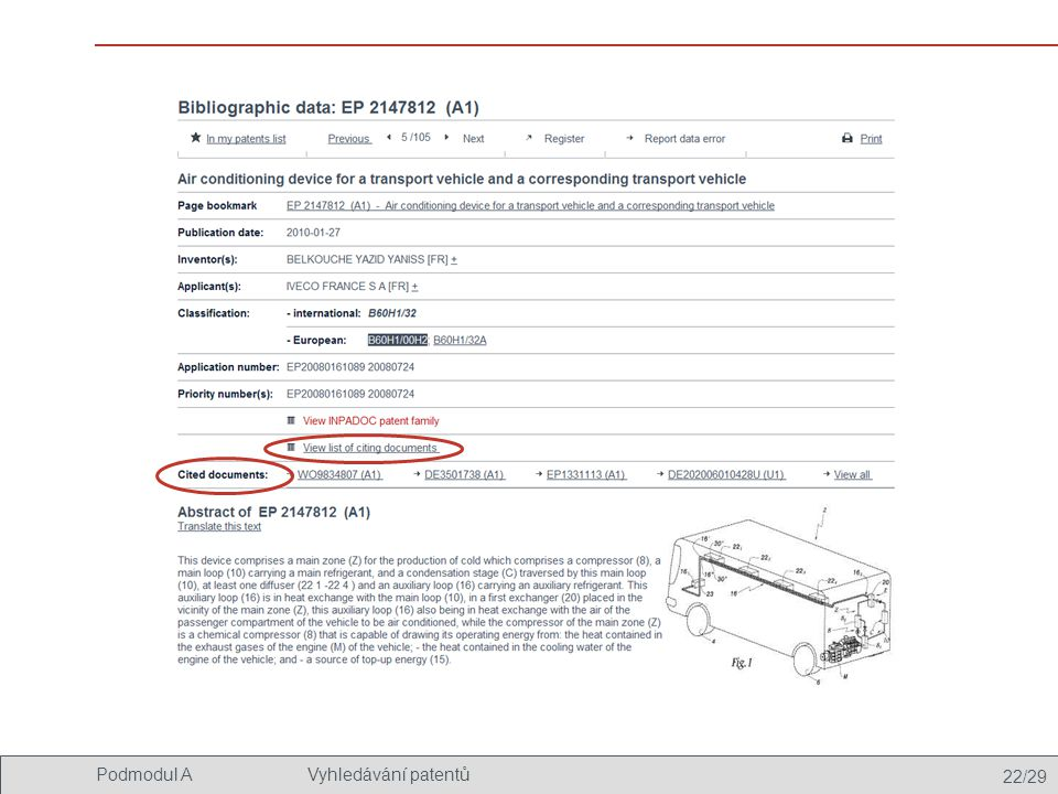 22/29 Podmodul AVyhledávání patentů