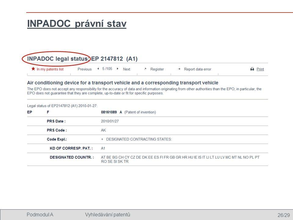 26/29 Podmodul AVyhledávání patentů INPADOC právní stav