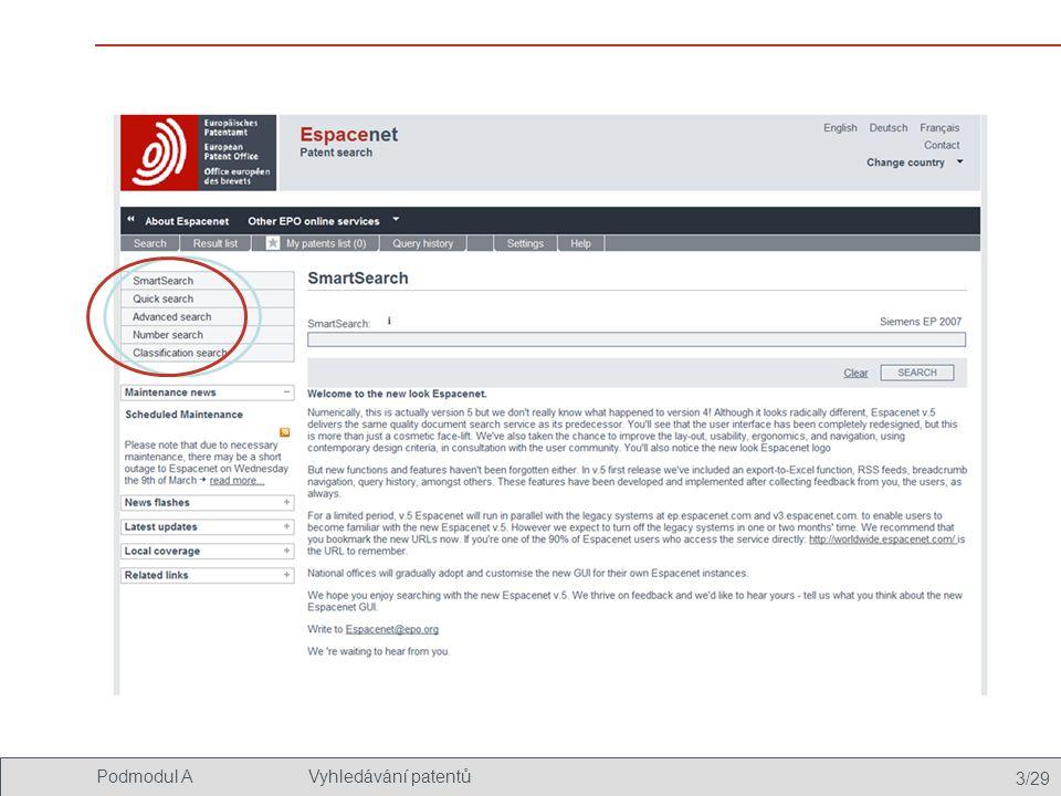 3/29 Podmodul AVyhledávání patentů