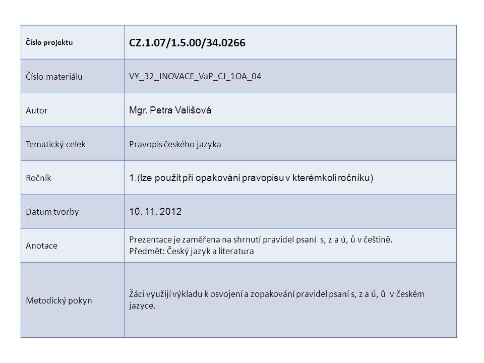Číslo projektu CZ.1.07/1.5.00/34.0266 Číslo materiáluVY_32_INOVACE_VaP_CJ_1OA_04 Autor Mgr.