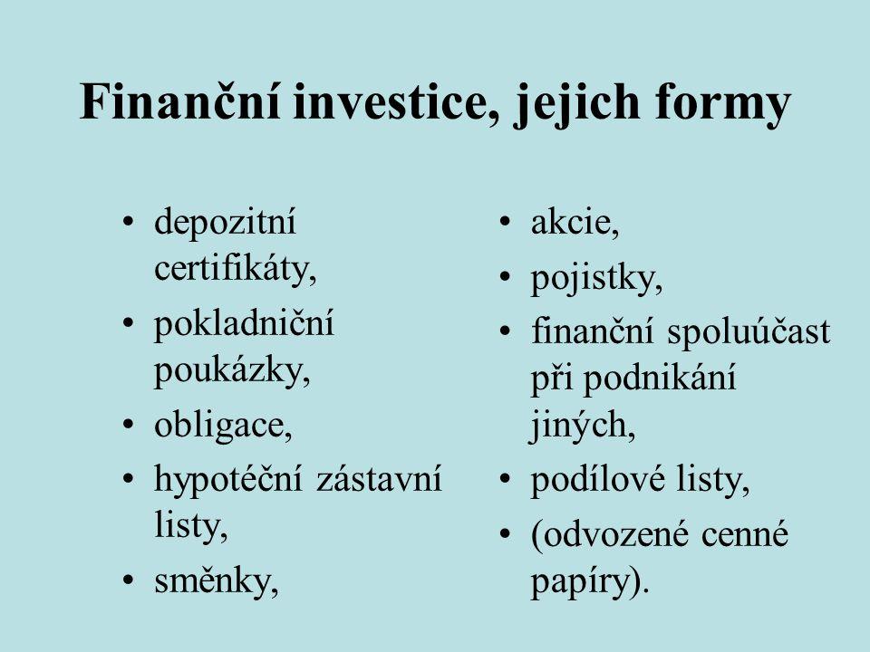 Finanční investice, jejich formy •depozitní certifikáty, •pokladniční poukázky, •obligace, •hypotéční zástavní listy, •směnky, •akcie, •pojistky, •fin