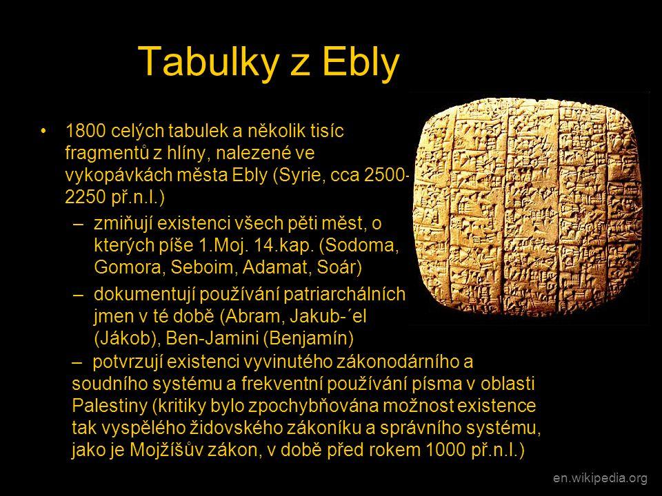 Tabulky z Ebly •1800 celých tabulek a několik tisíc fragmentů z hlíny, nalezené ve vykopávkách města Ebly (Syrie, cca 2500- 2250 př.n.l.) –zmiňují exi