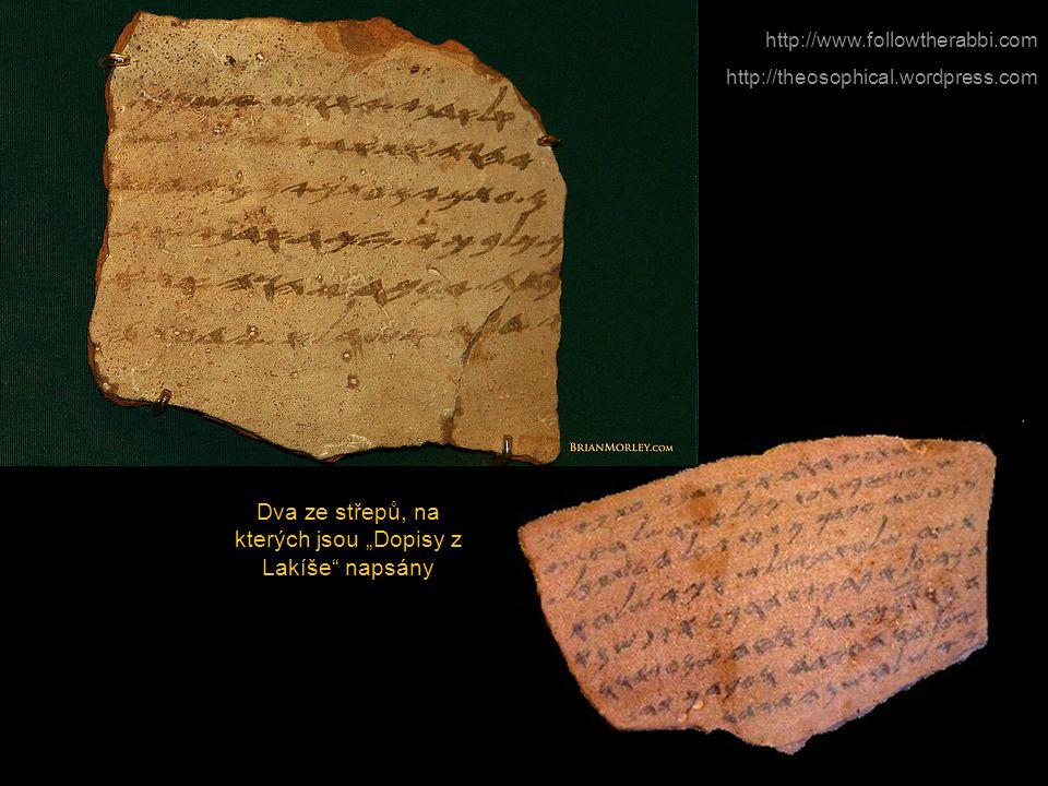 """http://www.followtherabbi.com http://theosophical.wordpress.com Dva ze střepů, na kterých jsou """"Dopisy z Lakíše"""" napsány"""