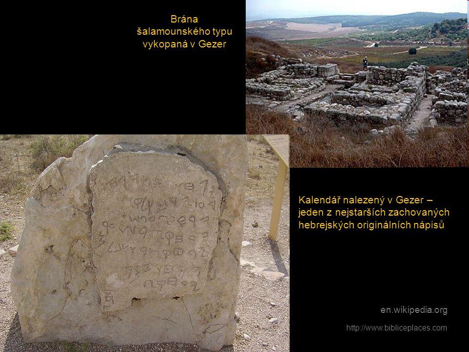 en.wikipedia.org Brána šalamounského typu vykopaná v Gezer Kalendář nalezený v Gezer – jeden z nejstarších zachovaných hebrejských originálních nápisů