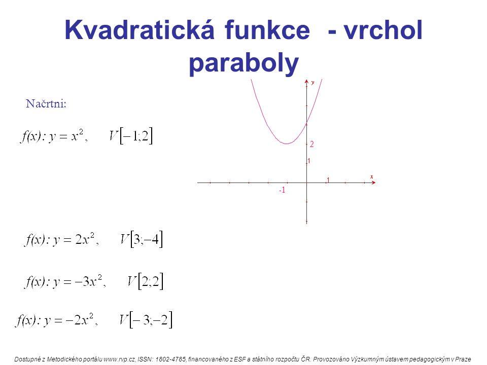 Kvadratická funkce - vrchol paraboly Na č rtni: 2 Dostupné z Metodického portálu www.rvp.cz, ISSN: 1802-4785, financovaného z ESF a státního rozpočtu ČR.