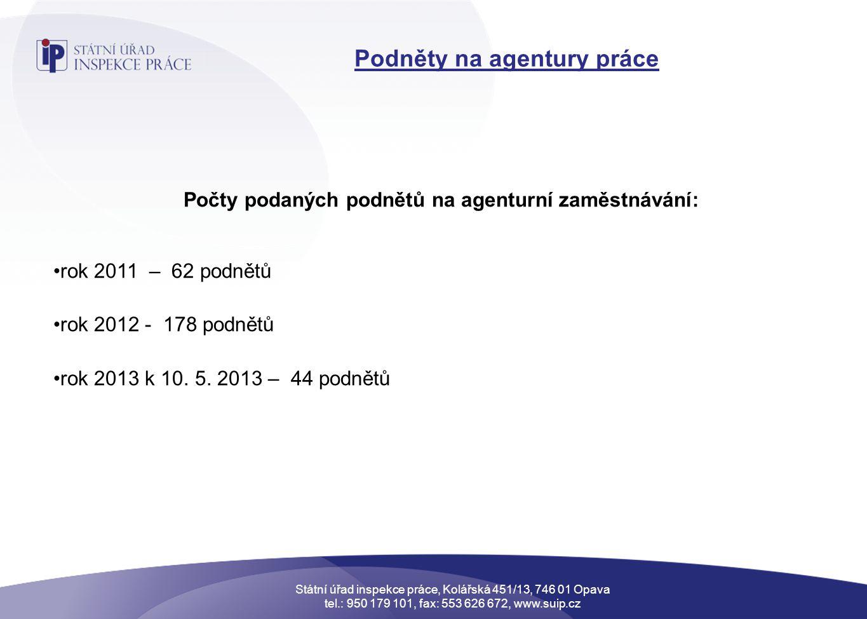 Podněty na agentury práce Počty podaných podnětů na agenturní zaměstnávání: •rok 2011 – 62 podnětů •rok 2012 - 178 podnětů •rok 2013 k 10.