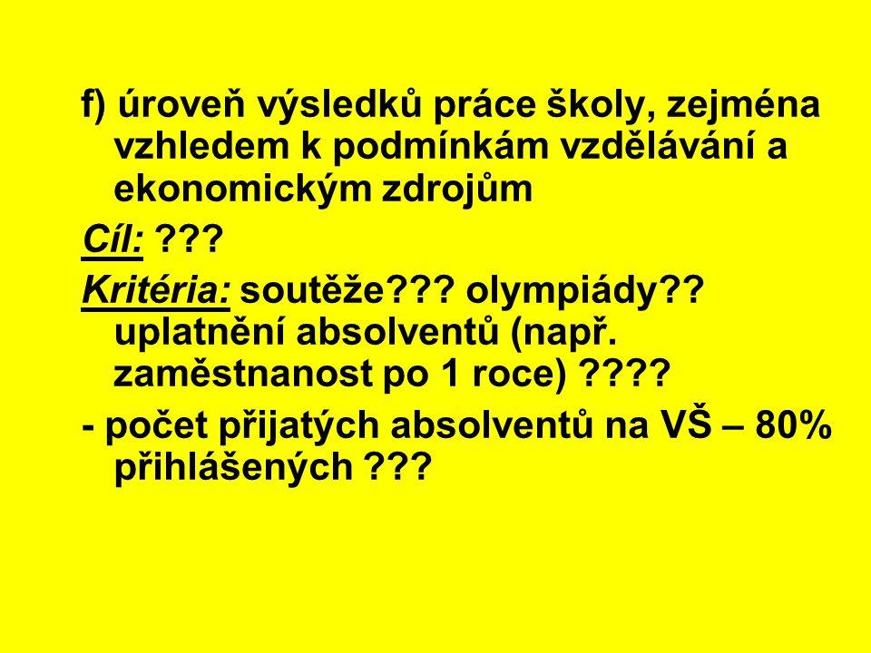 f) úroveň výsledků práce školy, zejména vzhledem k podmínkám vzdělávání a ekonomickým zdrojům Cíl: ??? Kritéria: soutěže??? olympiády?? uplatnění abso