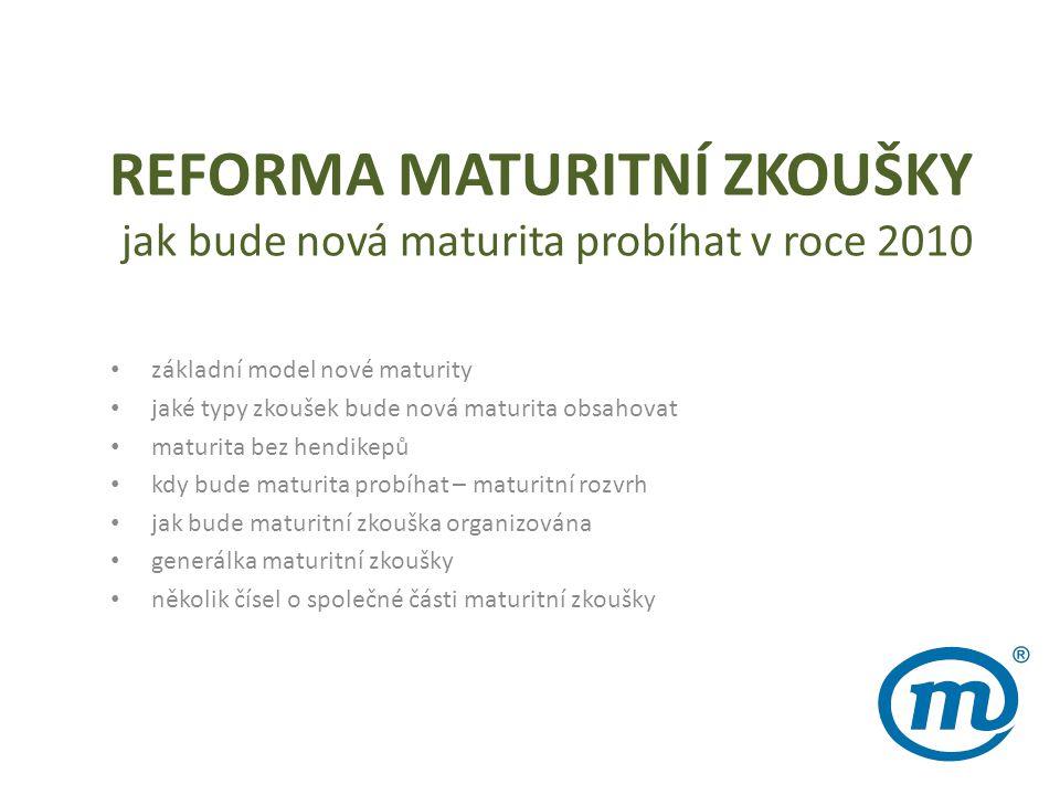 REFORMA MATURITNÍ ZKOUŠKY jak bude nová maturita probíhat v roce 2010 • základní model nové maturity • jaké typy zkoušek bude nová maturita obsahovat