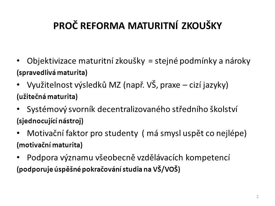 PROČ REFORMA MATURITNÍ ZKOUŠKY • Objektivizace maturitní zkoušky = stejné podmínky a nároky (spravedlivá maturita) • Využitelnost výsledků MZ (např. V