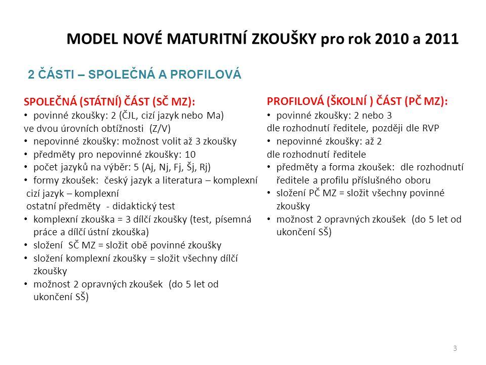MODEL NOVÉ MATURITNÍ ZKOUŠKY pro rok 2010 a 2011 SPOLEČNÁ (STÁTNÍ) ČÁST (SČ MZ): • povinné zkoušky: 2 (ČJL, cizí jazyk nebo Ma) ve dvou úrovních obtíž