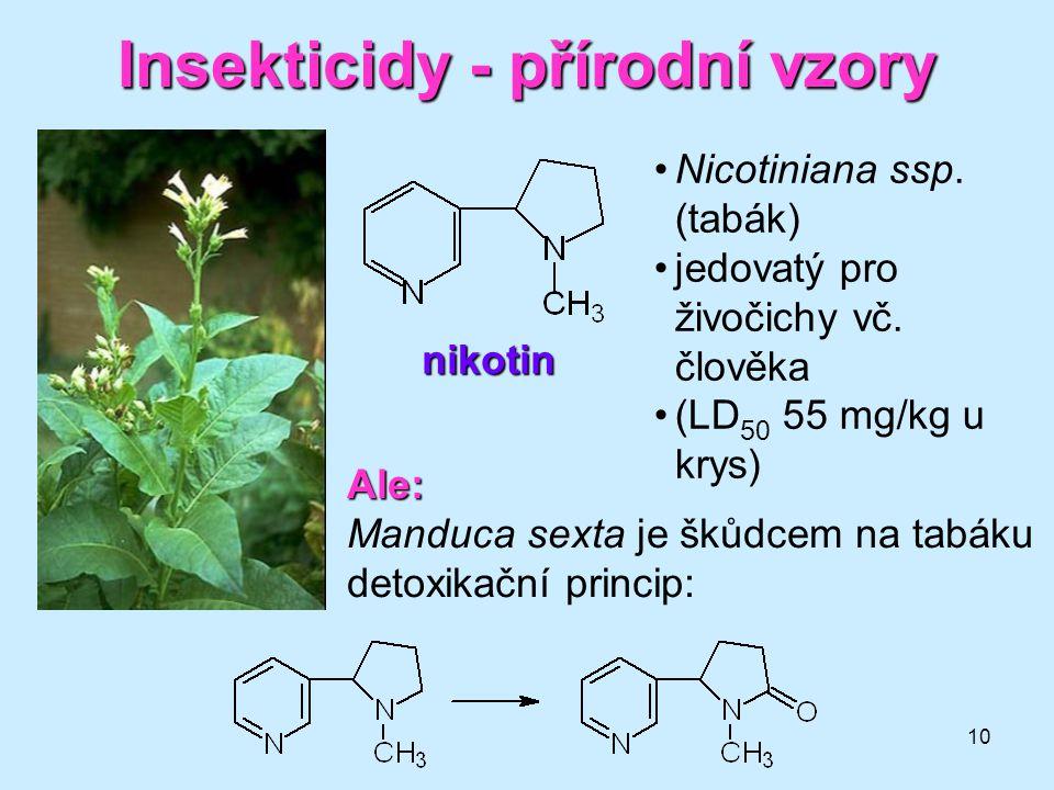 """11 Insekticidy - přírodní vzory rotenon •z kořenů tropických rostlin Derris (motýlokvěté) •původně šípový jed •specifický účinek (velmi toxický pro ryby, méně pro teplokrevné) •používán pod názvem """"derrisový prášek (sušený a mletý kořen rostliny) •rychle se rozkládá na světle a vzduchu"""