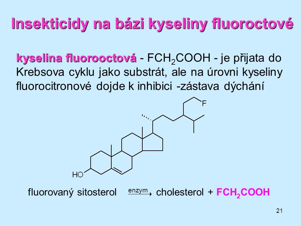 21 Insekticidy na bázi kyseliny fluoroctové fluorovaný sitosterol enzym cholesterol + FCH 2 COOH kyselina fluorooctová kyselina fluorooctová - FCH 2 C