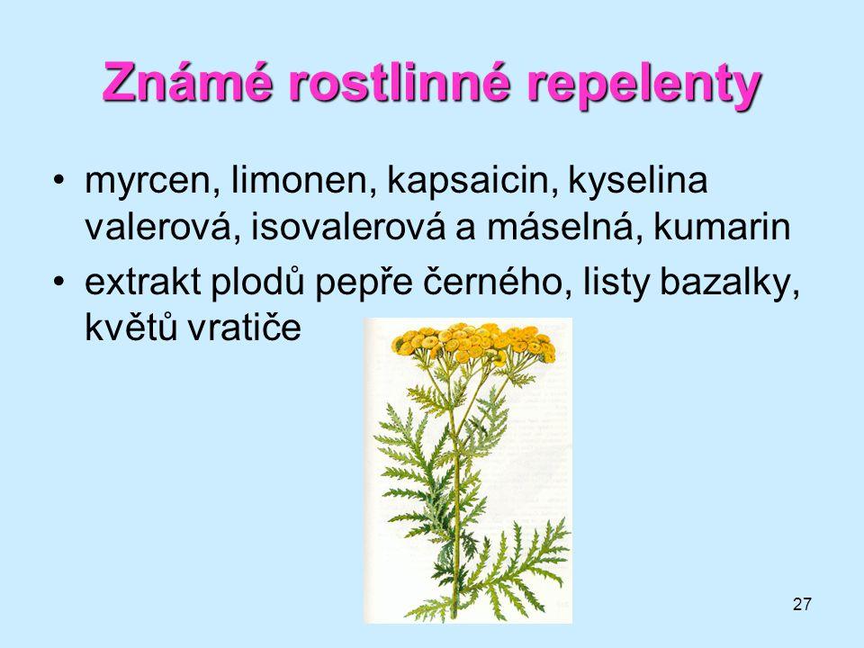 27 Známé rostlinné repelenty •myrcen, limonen, kapsaicin, kyselina valerová, isovalerová a máselná, kumarin •extrakt plodů pepře černého, listy bazalk