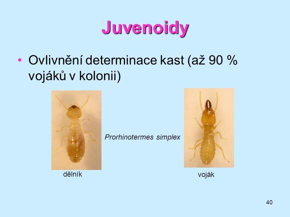41 Juvenoidy •specifický účinek na hmyz (dávky na jedince μ g–ng) •netoxické vůči teplokrevným živočichům •nehubí hmyz bezprostředně, ale brání přemnožení •nejsou příliš stálé (vývoj vhodné formulace) •kromě využití jako insekticidů 3.