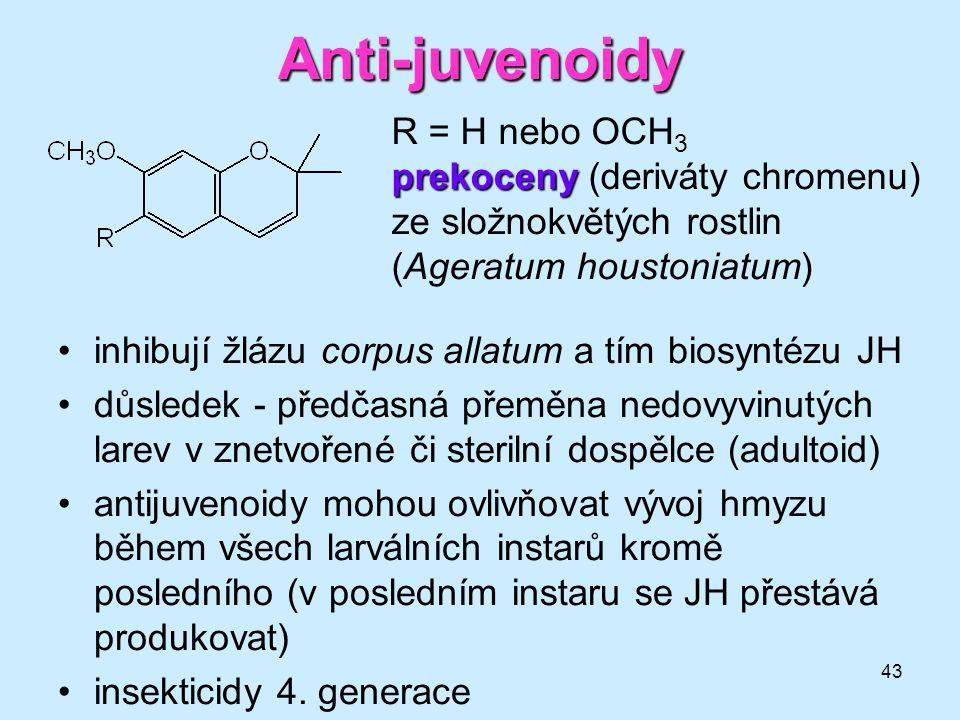 43 Anti-juvenoidy •inhibují žlázu corpus allatum a tím biosyntézu JH •důsledek - předčasná přeměna nedovyvinutých larev v znetvořené či sterilní dospě