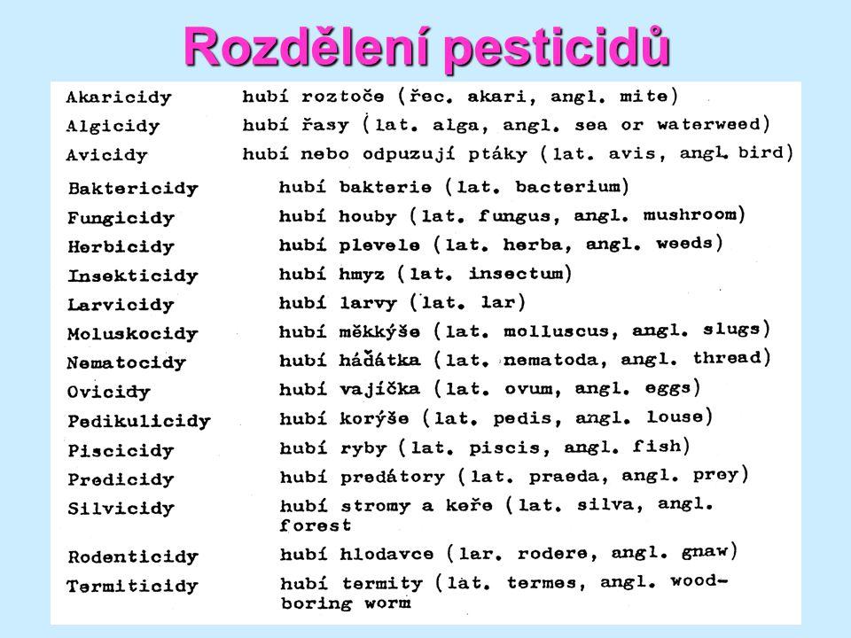 8 Rozdělení pesticidů