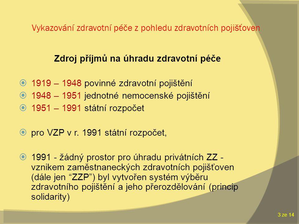 Vykazování zdravotní péče z pohledu zdravotních pojišťoven Zdroj příjmů na úhradu zdravotní péče  1919 – 1948 povinné zdravotní pojištění  1948 – 1951 jednotné nemocenské pojištění  1951 – 1991 státní rozpočet  pro VZP v r.