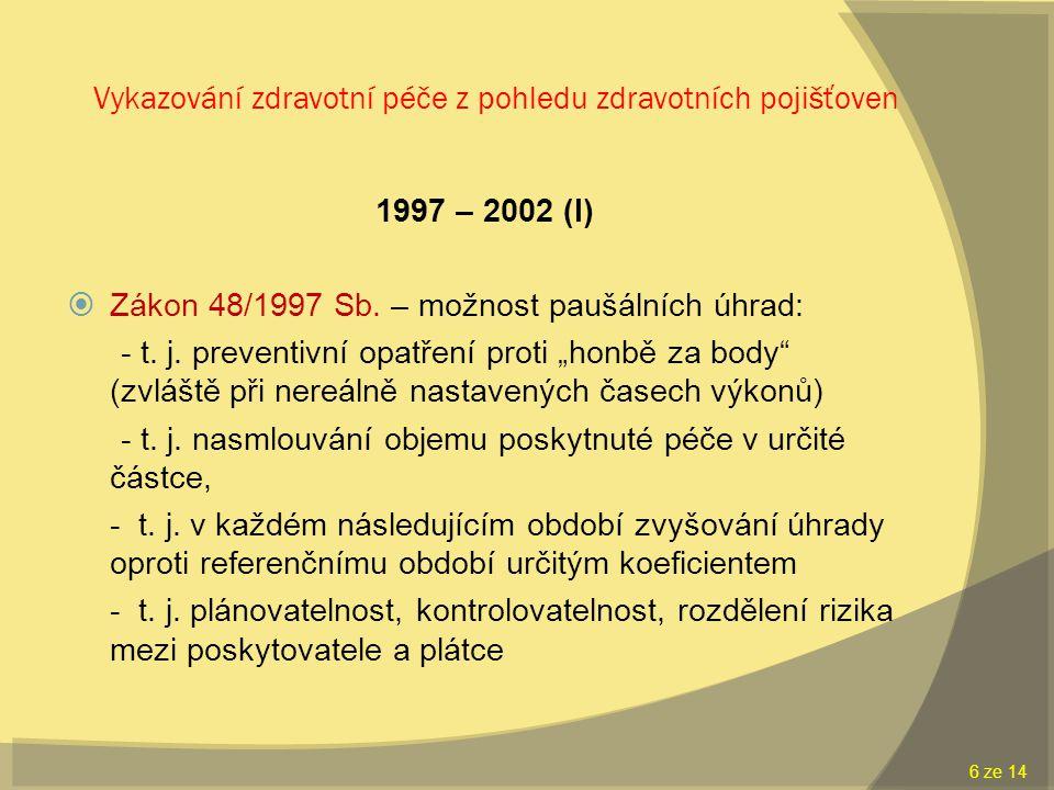 Vykazování zdravotní péče z pohledu zdravotních pojišťoven 1997 – 2002 (I)  Zákon 48/1997 Sb.