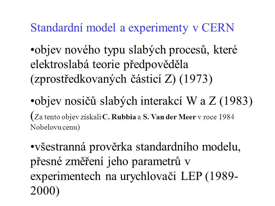 Standardní model a experimenty v CERN •objev nového typu slabých procesů, které elektroslabá teorie předpověděla (zprostředkovaných částicí Z) (1973)