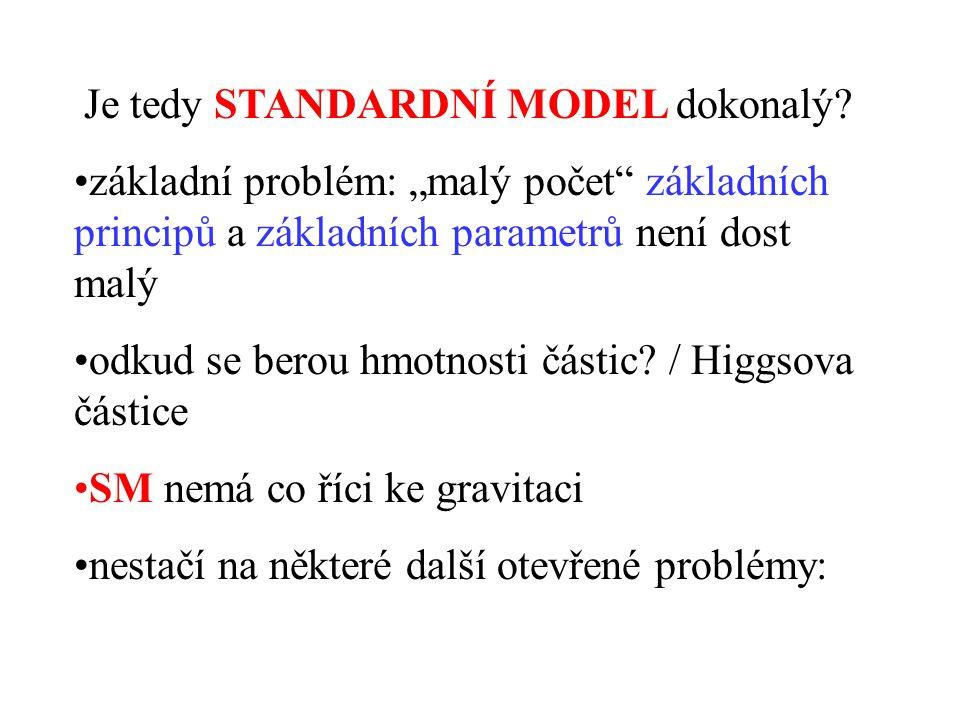"""Je tedy STANDARDNÍ MODEL dokonalý? •základní problém: """"malý počet"""" základních principů a základních parametrů není dost malý •odkud se berou hmotnosti"""
