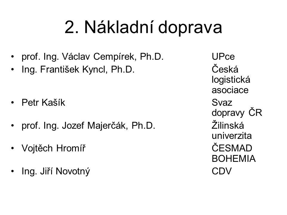 2. Nákladní doprava •prof. Ing. Václav Cempírek, Ph.D. UPce •Ing. František Kyncl, Ph.D. Česká logistická asociace •Petr Kašík Svaz dopravy ČR •prof.