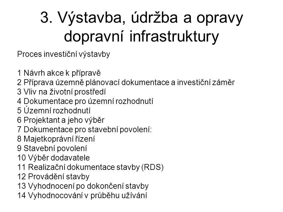 3. Výstavba, údržba a opravy dopravní infrastruktury Proces investiční výstavby 1 Návrh akce k přípravě 2 Příprava územně plánovací dokumentace a inve