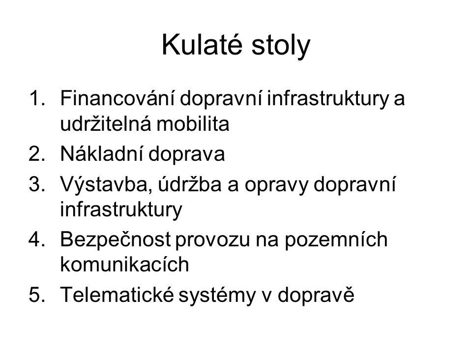Kulaté stoly 1.Financování dopravní infrastruktury a udržitelná mobilita 2.Nákladní doprava 3.Výstavba, údržba a opravy dopravní infrastruktury 4.Bezp
