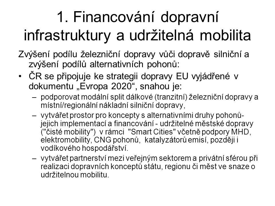 1. Financování dopravní infrastruktury a udržitelná mobilita Zvýšení podílu železniční dopravy vůči dopravě silniční a zvýšení podílů alternativních p