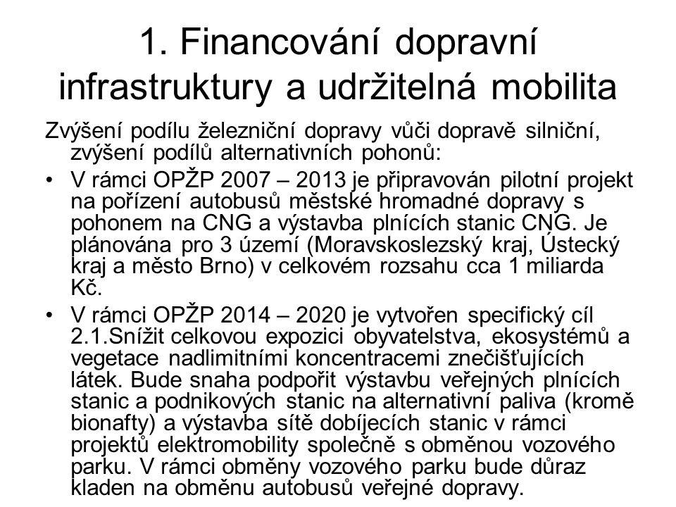 1. Financování dopravní infrastruktury a udržitelná mobilita Zvýšení podílu železniční dopravy vůči dopravě silniční, zvýšení podílů alternativních po