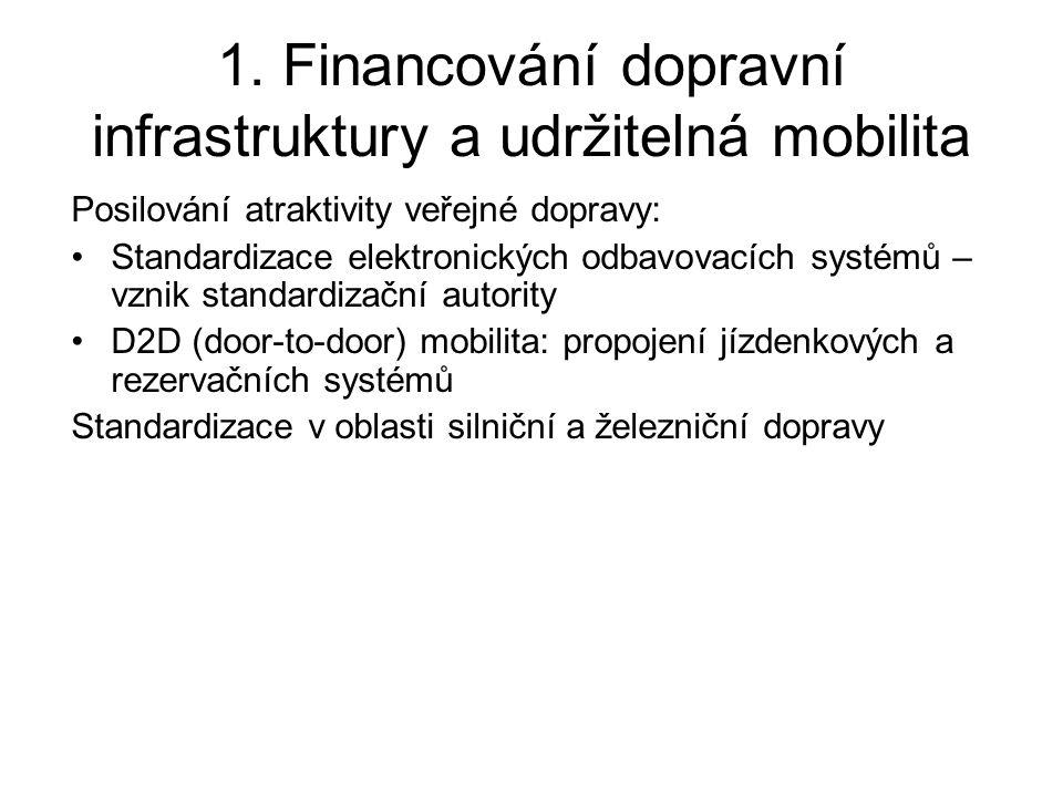 1. Financování dopravní infrastruktury a udržitelná mobilita Posilování atraktivity veřejné dopravy: •Standardizace elektronických odbavovacích systém
