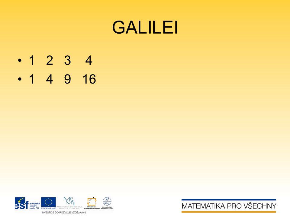 GALILEI •1 2 3 4 •1 4 9 16