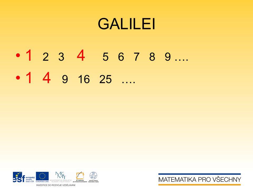GALILEI •1 2 3 4 5 6 7 8 9 …. •1 4 9 16 25 ….