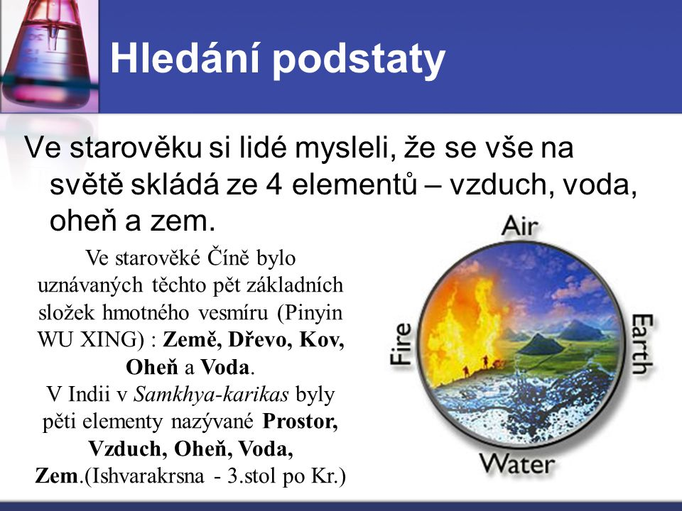 Ve starověku si lidé mysleli, že se vše na světě skládá ze 4 elementů – vzduch, voda, oheň a zem. Ve starověké Číně bylo uznávaných těchto pět základn