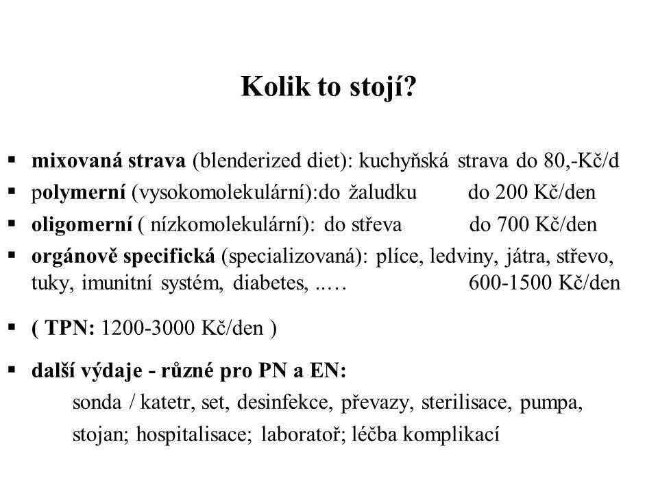 Kolik to stojí?  mixovaná strava (blenderized diet): kuchyňská strava do 80,-Kč/d  polymerní (vysokomolekulární):do žaludku do 200 Kč/den  oligomer