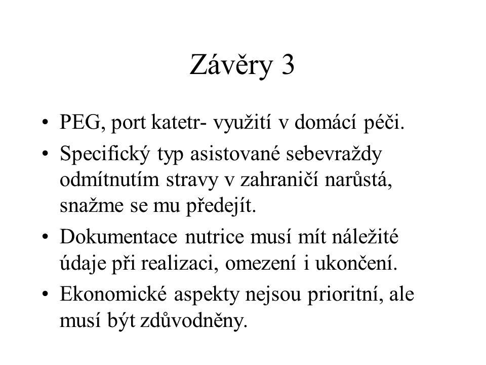Závěry 3 •PEG, port katetr- využití v domácí péči. •Specifický typ asistované sebevraždy odmítnutím stravy v zahraničí narůstá, snažme se mu předejít.