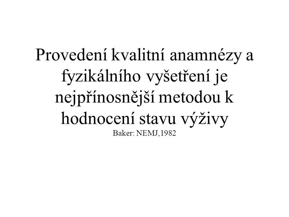 Provedení kvalitní anamnézy a fyzikálního vyšetření je nejpřínosnější metodou k hodnocení stavu výživy Baker: NEMJ,1982
