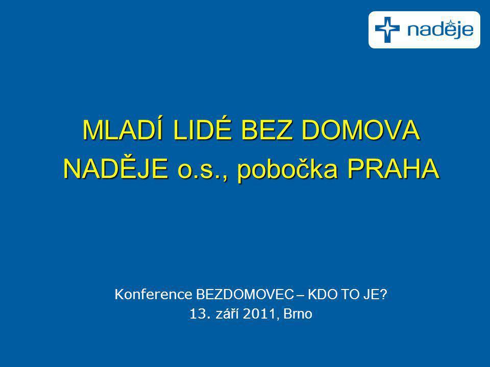 MLADÍ LIDÉ BEZ DOMOVA NADĚJE o.s., pobočka PRAHA Konference BEZDOMOVEC – KDO TO JE? 13. září 201 1, Brno
