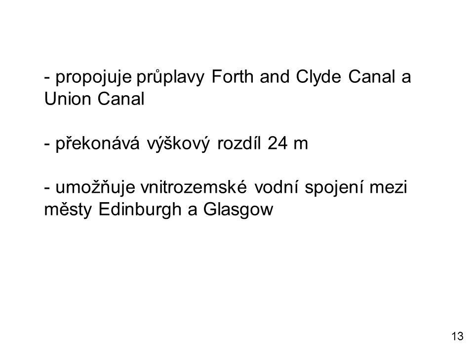 - propojuje průplavy Forth and Clyde Canal a Union Canal - překonává výškový rozdíl 24 m - umožňuje vnitrozemské vodní spojení mezi městy Edinburgh a