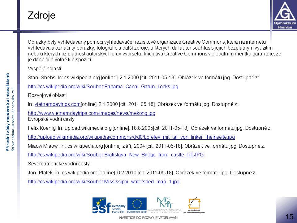 Přírodní vědy moderně a interaktivně ©Gymnázium Hranice, Zborovská 293 Obrázky byly vyhledávány pomocí vyhledavače neziskové organizace Creative Commo