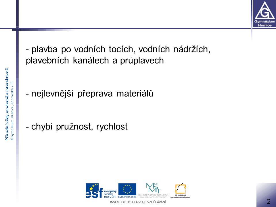Přírodní vědy moderně a interaktivně ©Gymnázium Hranice, Zborovská 293 - důležitá úloha jako doplněk dopravního systému - Francie, Německo, USA… - kanály, průplavy 3 Vyspělé oblasti