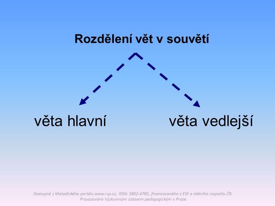 Věta hlavní (VH) Dostupné z Metodického portálu www.rvp.cz, ISSN: 1802-4785, financovaného z ESF a státního rozpočtu ČR.